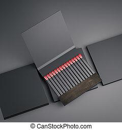 Black matchboxes. 3d rendering