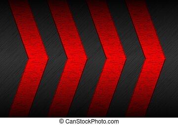 Black material background with red arrows and metallic pattern. Modern template for your business and projects. Vector abstract widescreen background