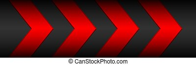 Black material header with red arrows and metallic pattern. Modern banner for your business and projects. Vector abstract widescreen background
