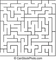 Black maze - Black thin maze. Vector illustration.