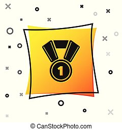 Black Medal icon isolated on white background. Winner symbol. Yellow square button. Vector Illustration