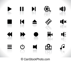 Black media icons. Vector illustration