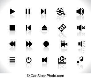Black media icons. Vector illustration