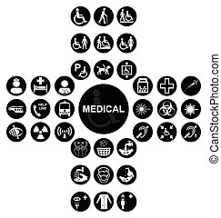 Black Medical and health care Icon collection