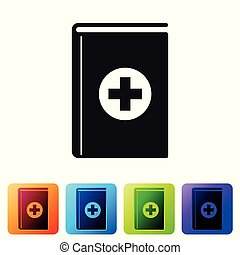 Black Medical book icon isolated on white background. Set icon in color square buttons. Vector Illustration