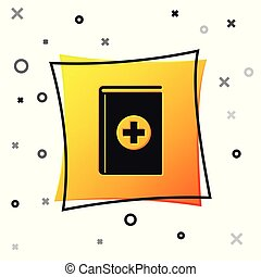 Black Medical book icon isolated on white background. Yellow square button. Vector Illustration