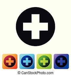 Black Medical cross in circle icon isolated on white background. First aid medical symbol. Set icon in color square buttons. Vector Illustration