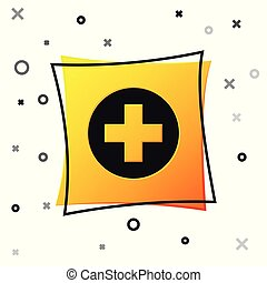 Black Medical cross in circle icon isolated on white background. First aid medical symbol. Yellow square button. Vector Illustration