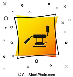 Black Medical dental chair icon isolated on white background. Dentist chair. Yellow square button. Vector Illustration