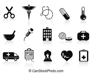 black medical icons set for medical design