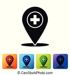 Black Medical map pointer with cross hospital icon isolated on white background. Set icon in color square buttons. Vector Illustration