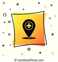 Black Medical map pointer with cross hospital icon isolated on white background. Yellow square button. Vector Illustration