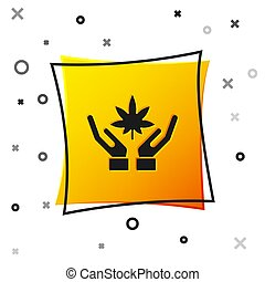 Black Medical marijuana or cannabis leaf icon isolated on white background. Hemp symbol. Yellow square button. Vector Illustration