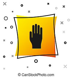Black Medical rubber gloves icon isolated on white background. Protective rubber gloves. Yellow square button. Vector Illustration