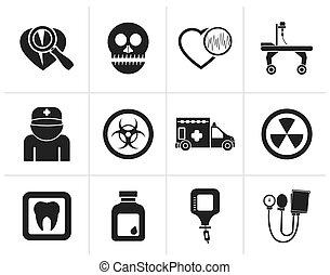 hospital equipment icons - Black Medicine and hospital...