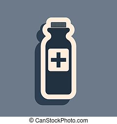 Black Medicine bottle icon isolated on grey background. Bottle pill sign. Pharmacy design. Long shadow style. Vector Illustration