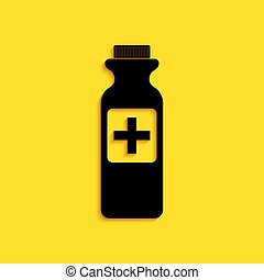 Black Medicine bottle icon isolated on yellow background. Bottle pill sign. Pharmacy design. Long shadow style. Vector
