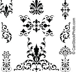 Vector of black medieval ornaments on white