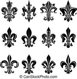 Black medieval royal fleur-de-lis symbols
