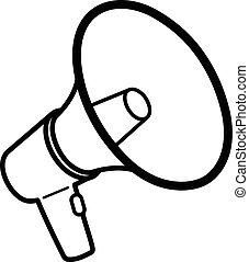 black , megafoon, bullhorn, schets, of