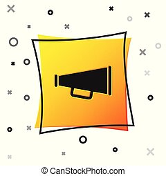 Black Megaphone icon isolated on white background. Yellow square button. Vector Illustration