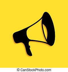 Black Megaphone icon isolated on yellow background. Long shadow style. Vector