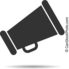 black megaphone icon on a white background