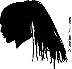 Black Men African American, African profile picture silhouette. Man from the side with afroharren. Long Dreads, Long Dreadlocks hairstyle, afro hair. Silhouette