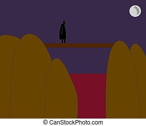 black men figure crossing the foot bridge over red water blood hills with dark violet night background and full moon