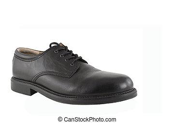 Black Mens Shoe - A Black Mens Shoe isolated on white