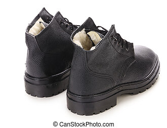 Black men's shoes. Isolated on a white background.