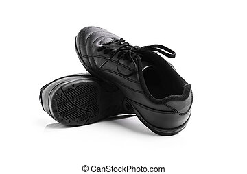 black men's shoes isolated on a white background