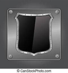 black , metaal, schild, plank