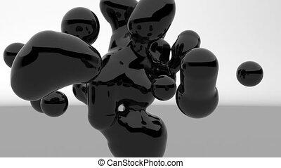 Black metaballs Fluid art Motion graphics stylish minimalistic design footage 4k