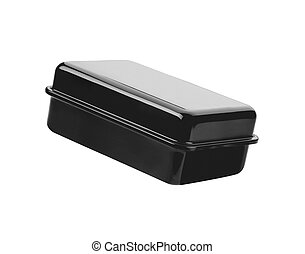Black metal box isolated on white background