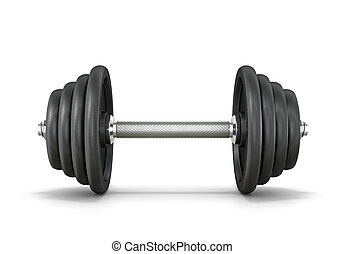 Black metal dumbbell isolated white background.3d illustration