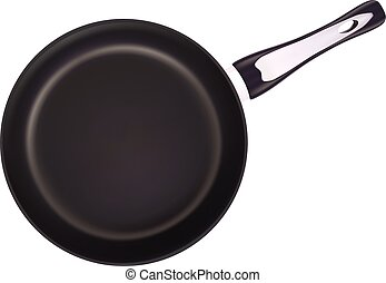 Black Metal Frying Pan Isolated On A White Background. Vector Illustration.