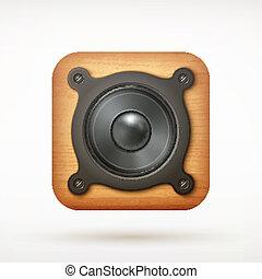 black metal music speaker app icon on rounded corner square