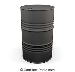 Black metal oil drum. 3d.