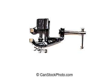 Black metal vise isolated on white background