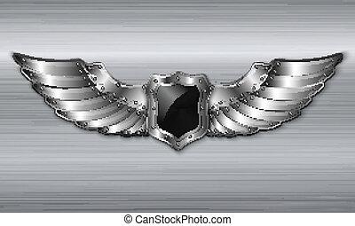 Black metal winged shield emblem