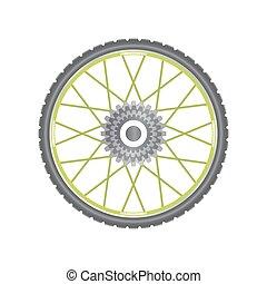 Black metallic bicycle wheel with green spokes