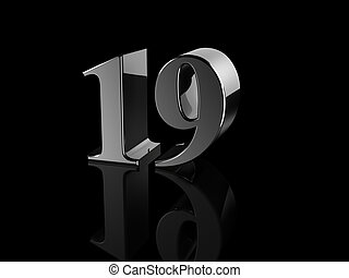... number 19 - black metallic number 19 on black background,... ...