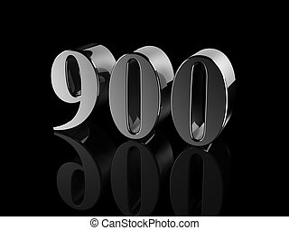 ... number 900 - black metallic number 900 on black background,... ...
