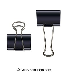 Black metallic paper clips isolated on white background. Vector design elements.