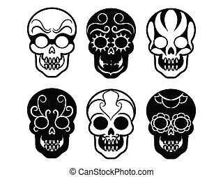 Black mexican skull icons