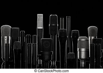black , microfoon, opname