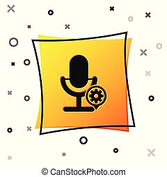 Black Microphone and gear icon isolated on white background. Adjusting app, service concept, setting options, maintenance, repair, fixing. Yellow square button. Vector Illustration