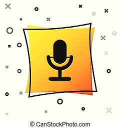 Black Microphone icon isolated on white background. On air radio mic microphone. Speaker sign. Yellow square button. Vector Illustration