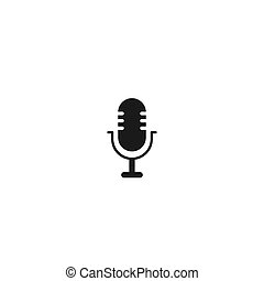 black microphone icon. linear button. radio, podcast logo.